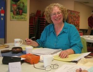 Sarah and her Tibetan bowl at Westside Senior Center memoir writing workshop.