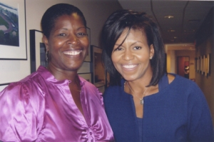 Dawn Crim with First Lady Michelle Obama at a tea held in Madison, Wisconsin