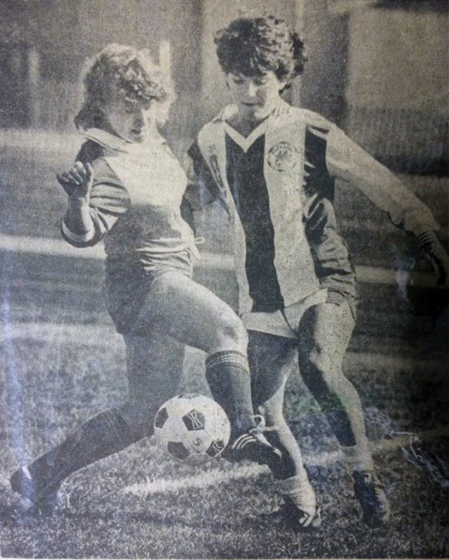 Small town paper shows author stealing a ball as a highschooler.