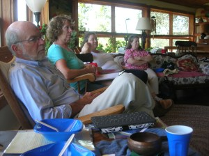 "Bill, Ellie, Mary Joan, and Jo Ann, at ""Write in Nature"" retreat, Farley Center for Peace, Justice and Sustainability"