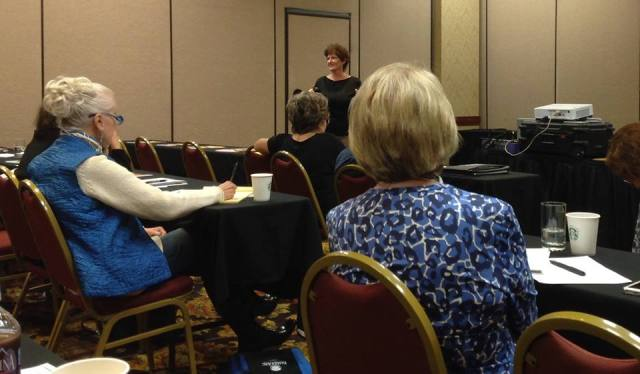 Patricia Charpentier presenting on electronic editing (photo by Fran Morley)