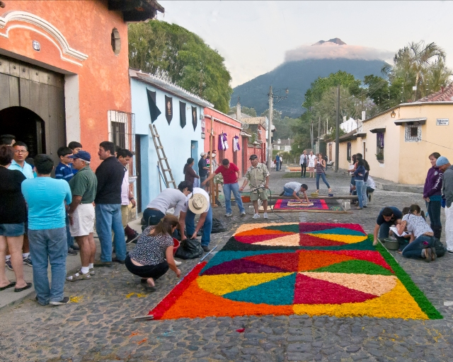 Antiqua, Guatemala--Semana Santa art, and volcano