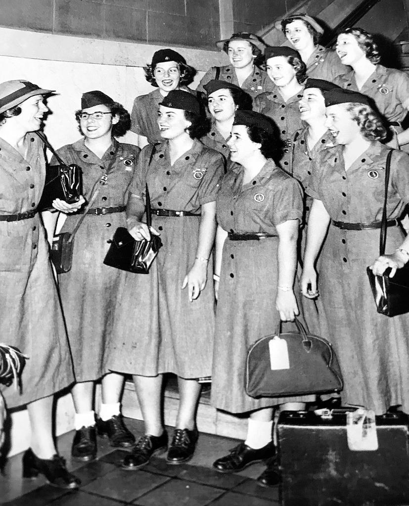 Senior Girl Scouts at Hartford leaving for Europe 1949